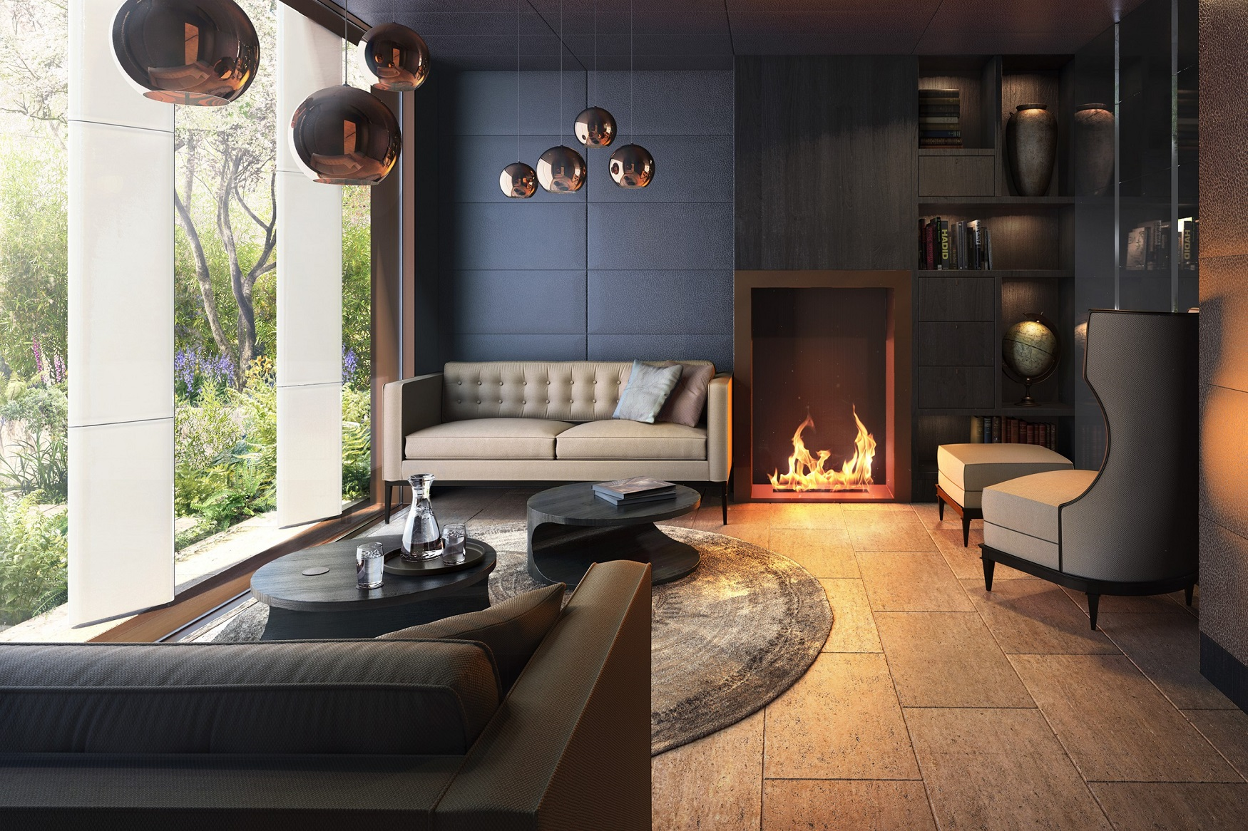 Fireplace in modern stylish apartment in london