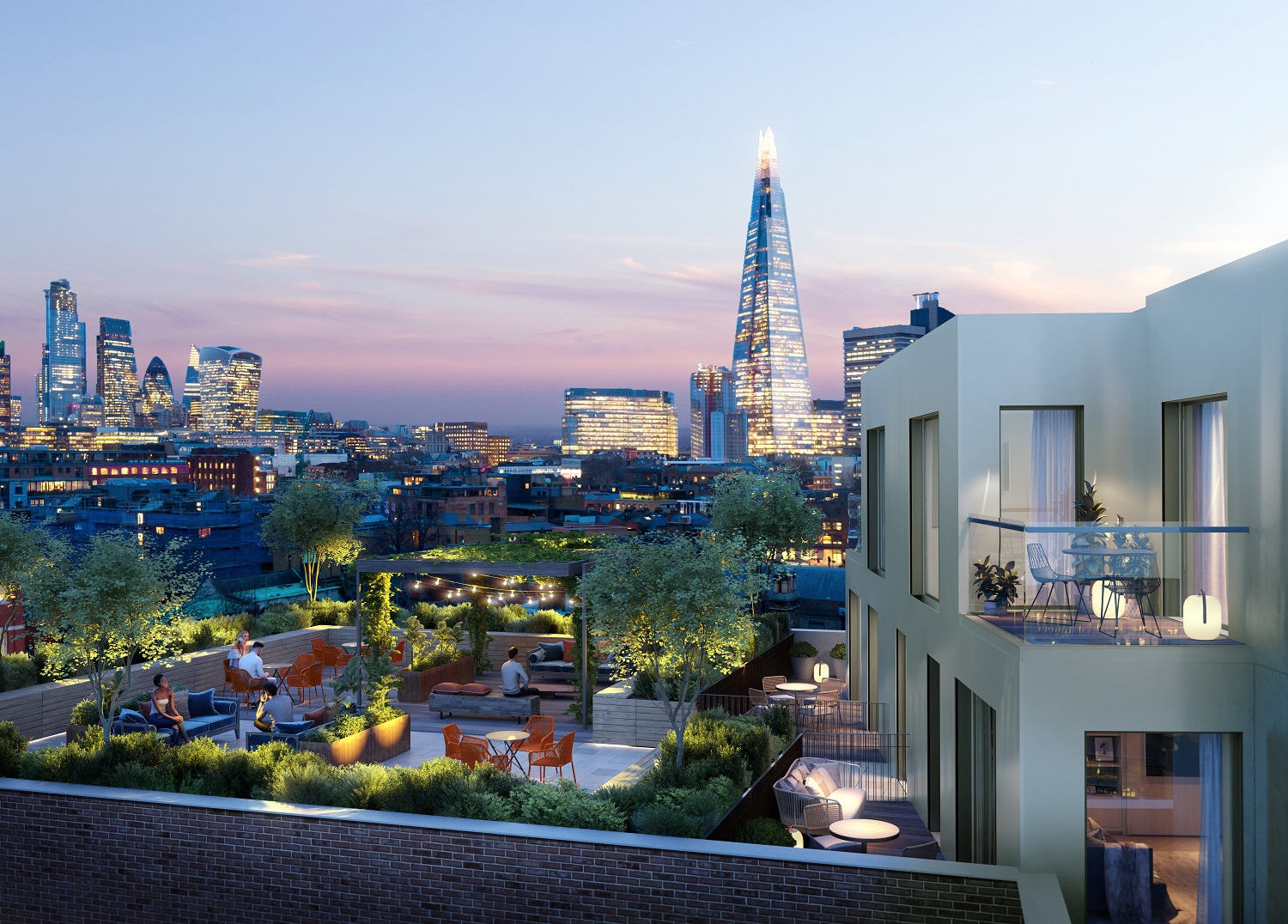 Stunning Rooftop View in London night Time Shard Lights