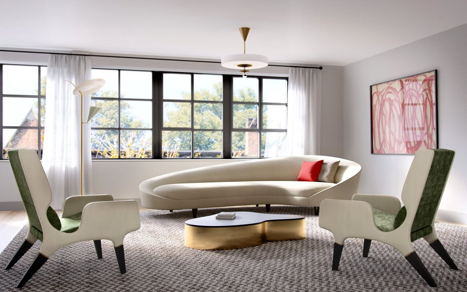 Architectural furniture with clean, sweeping lines should be the focus of your Scandinavian living room.