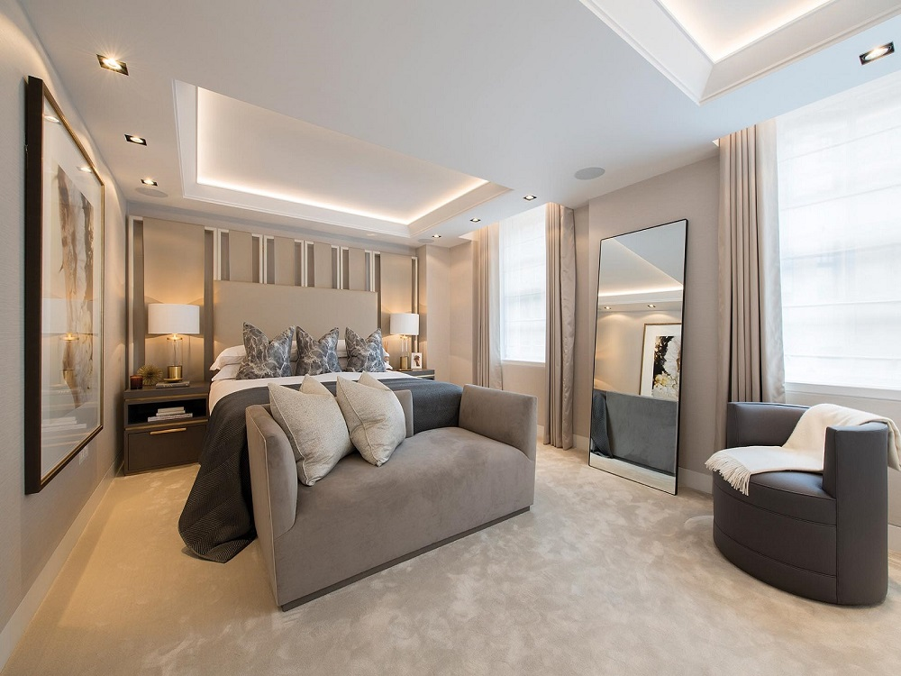 Stunning luxury interior design bedroom in apartment in Mayfair London