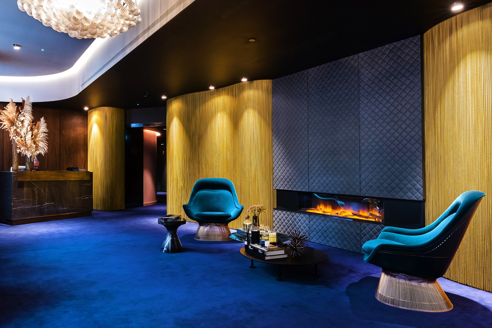 Lobby in Chapter House London Fireplace Royal Blue Modern