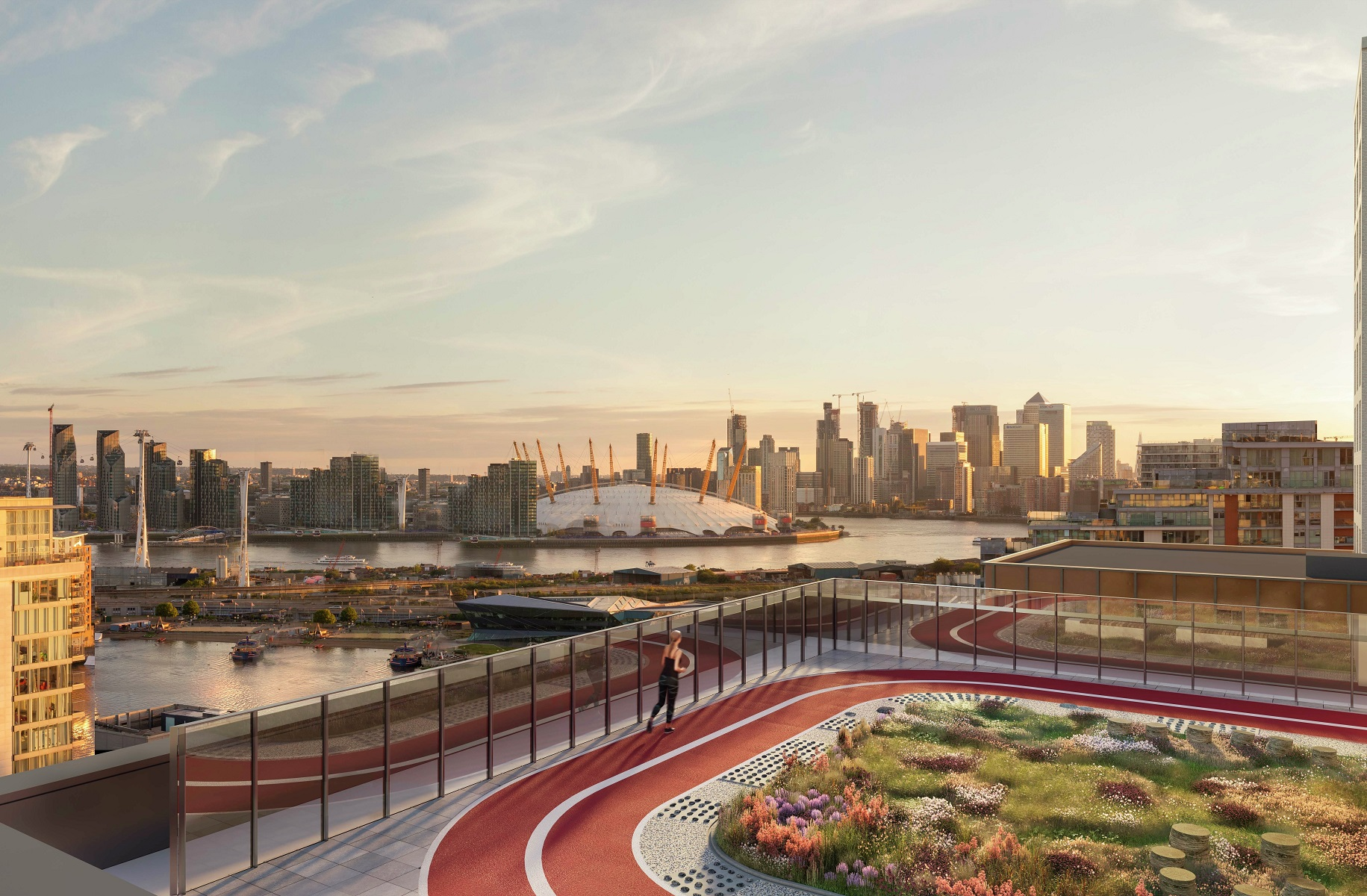 Image of the running track on the rooftop of Royal Eden Docks with the city in the background