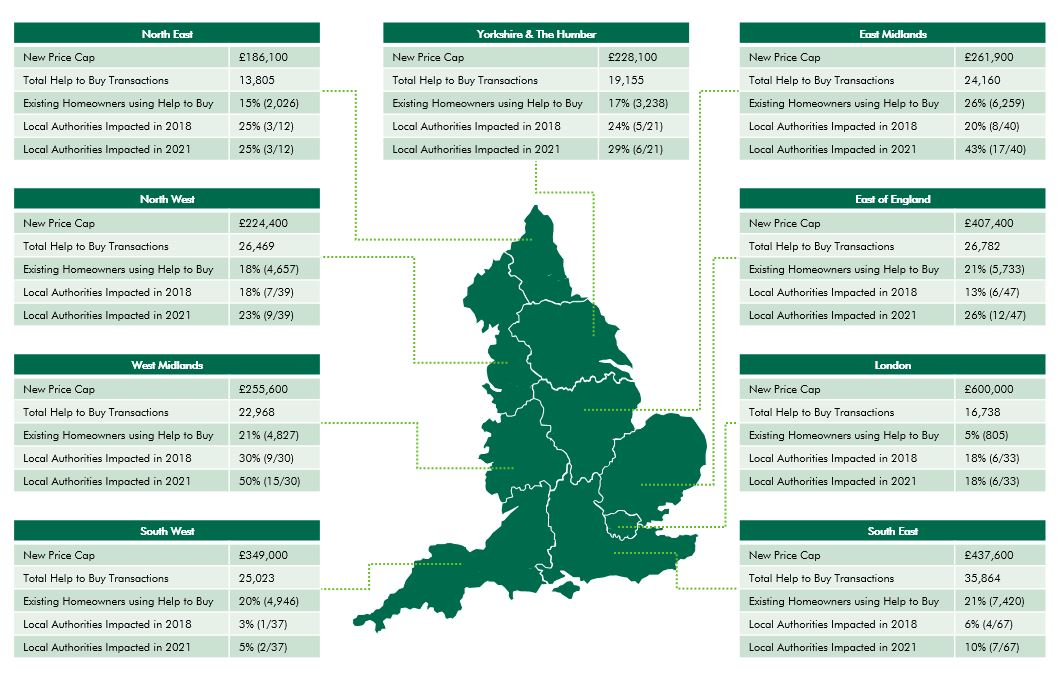 Map of England and how help to buy will affect the market