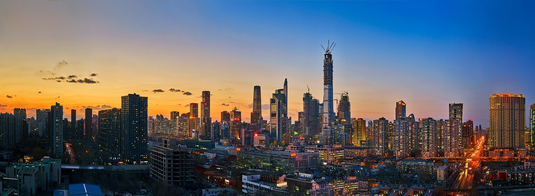 Sunset photo of Beijing with skyscrapers and lights