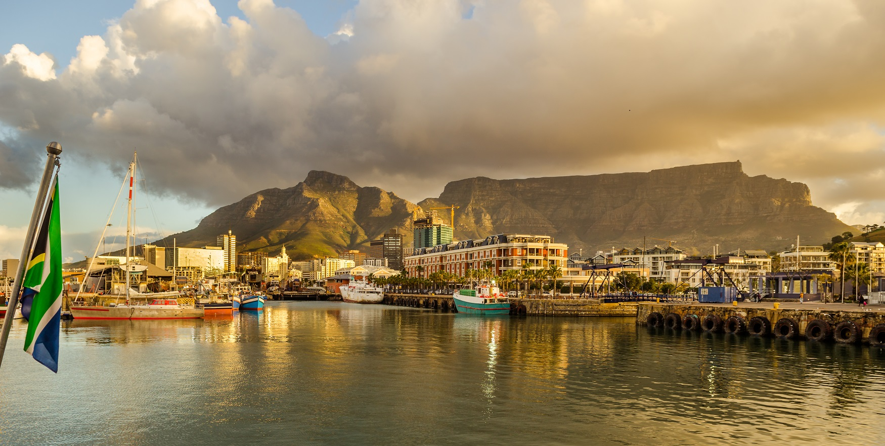 View of Cape town in front of Table Mountain during golden hour