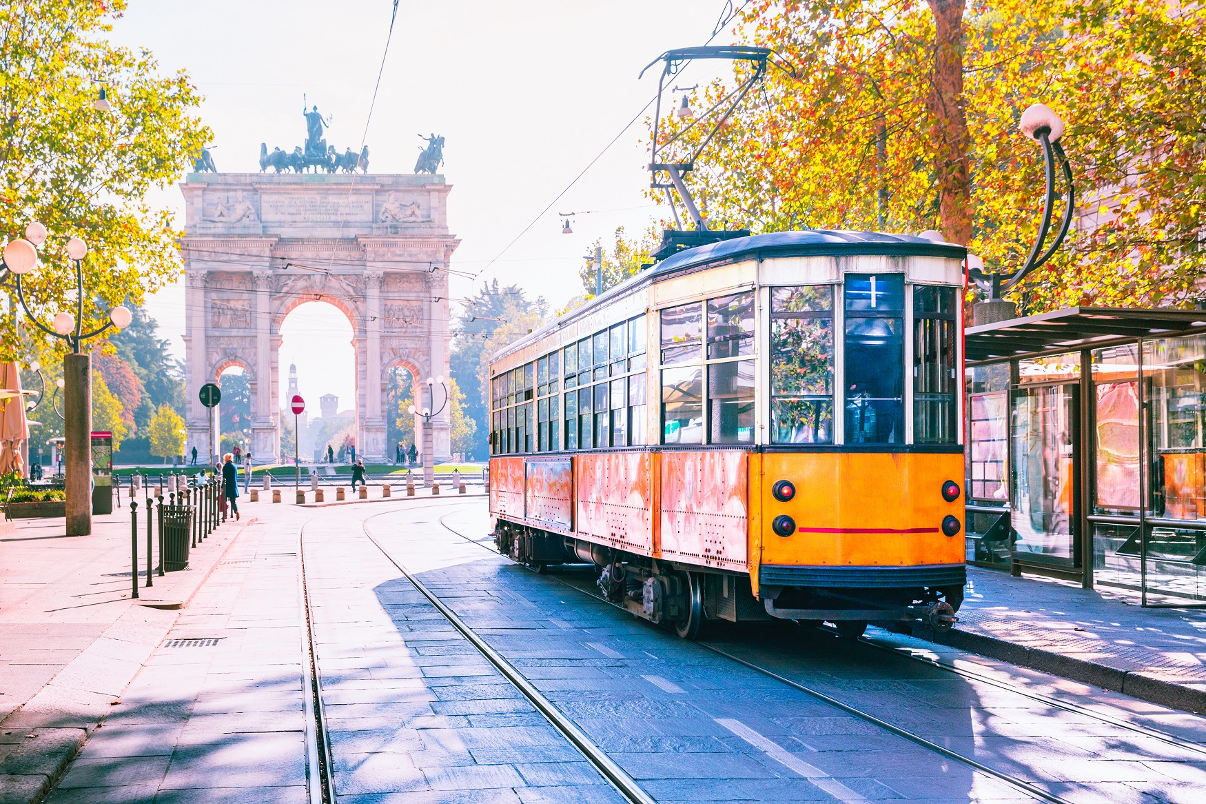 Photo of a tram in the sunshine in Milan