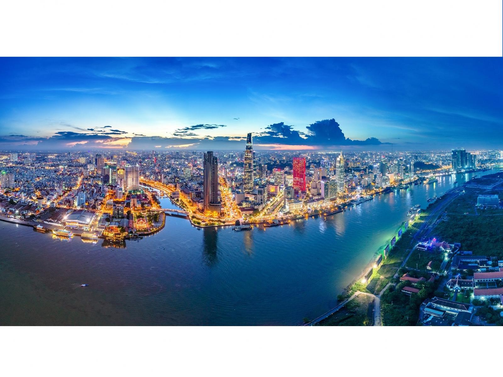 Stunning view of Ho Chi Minh City by night with skyscrapers and lights