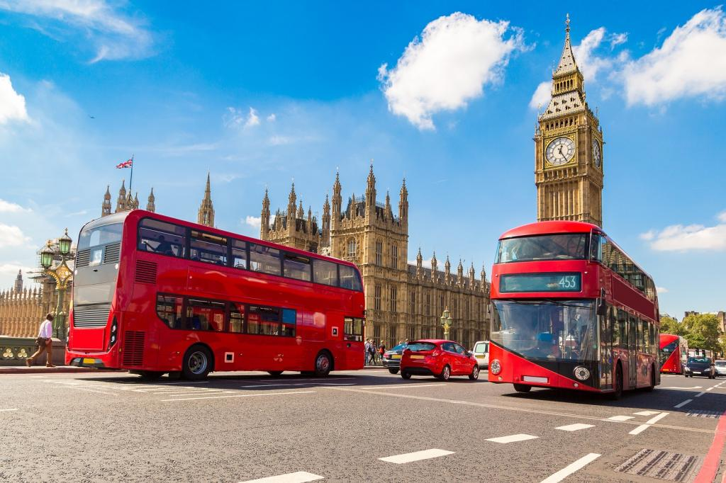 London transport, bus, red, city