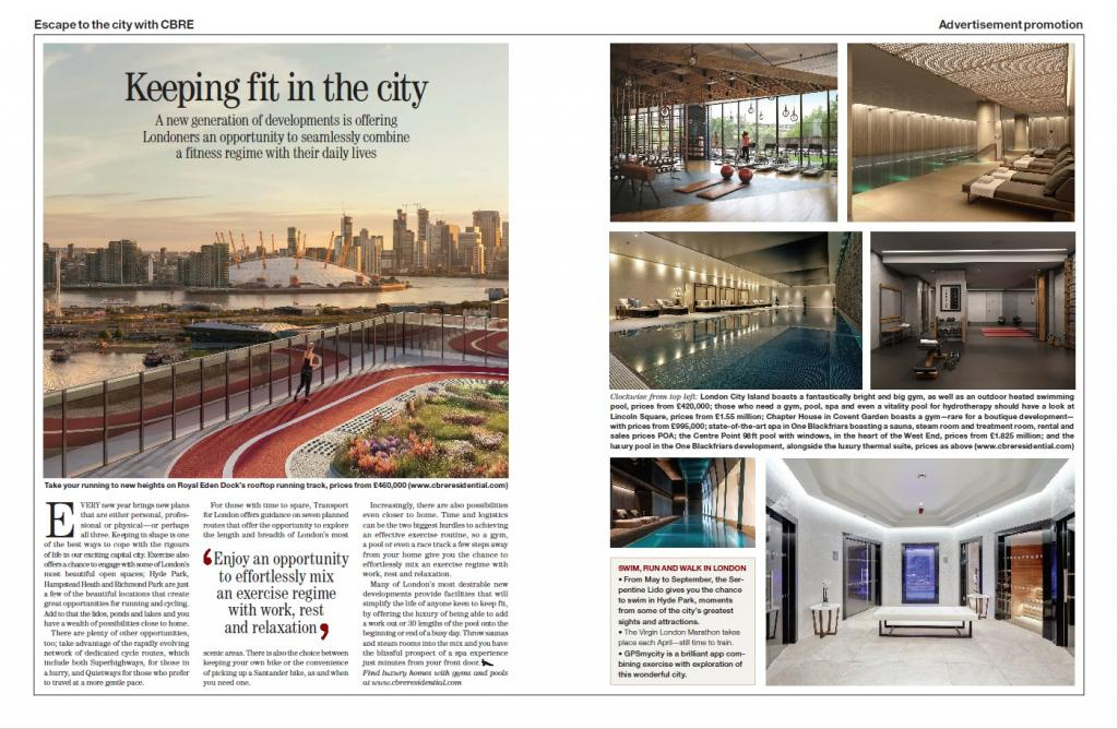 screenshot of the article in Country Life CBRE keeping fit in the city January 2020