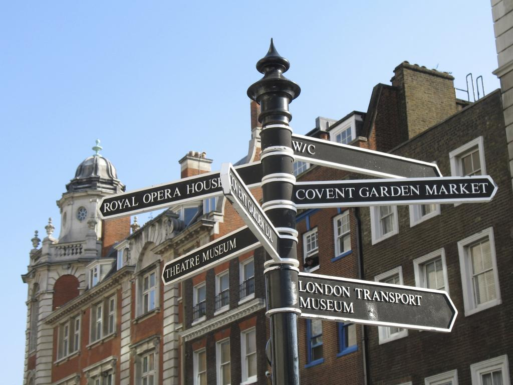 Signpost in covent garden blue skies