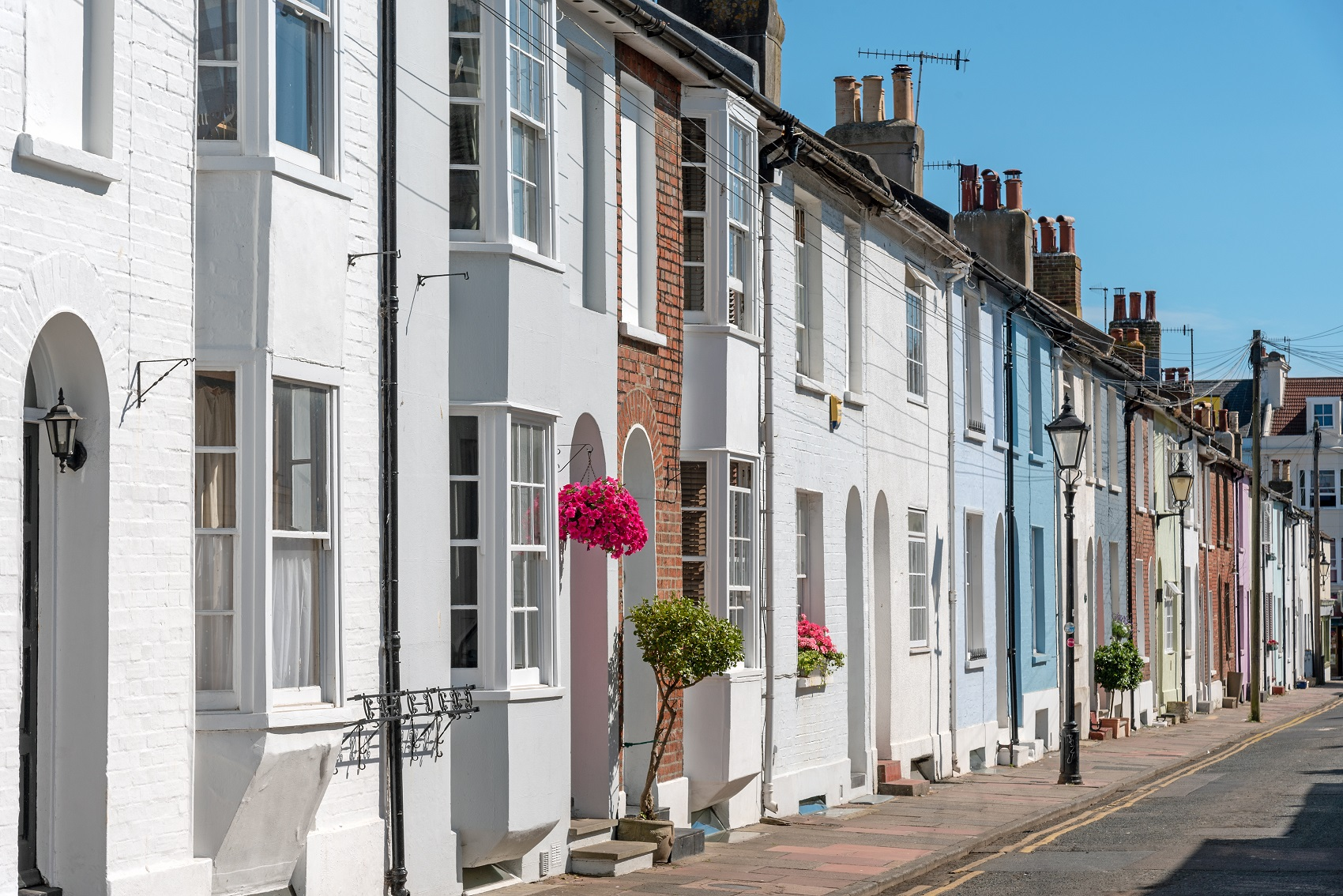 stunning row of houses in Brighton colour